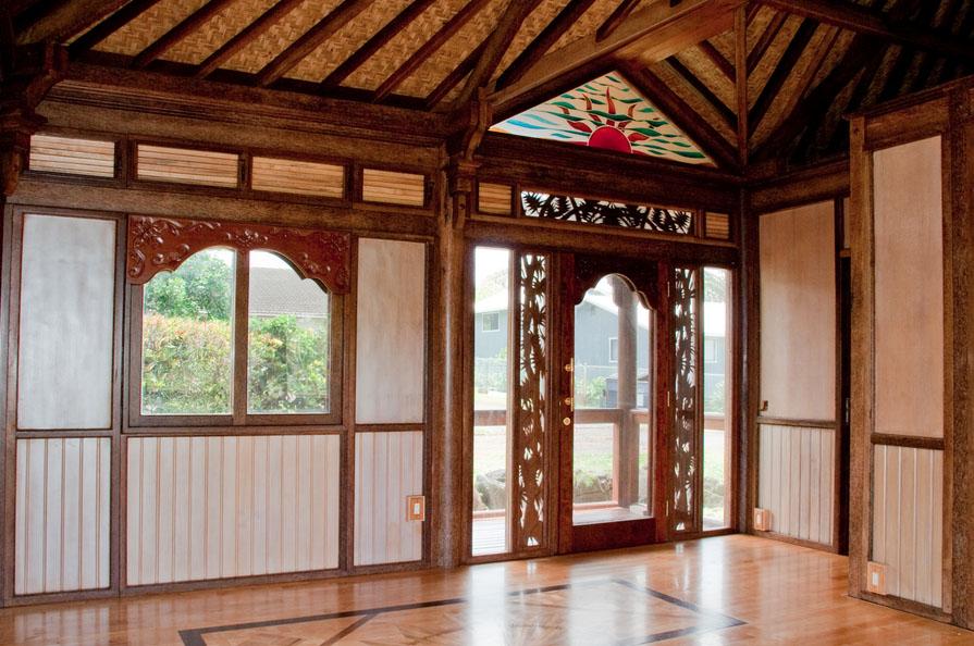 Haiku Ohana Tiny House Hawaii living room wooden eco architecture by Mandala Eco Homes