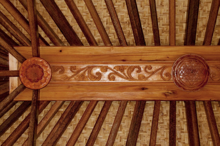 Haiku Ohana Wooden Eco House Sri Yantra Ceiling Wood Carving