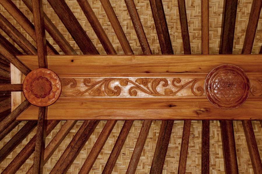 Haiku Ohana Wooden Eco House Sri Yantra Ceiling Wood Carving