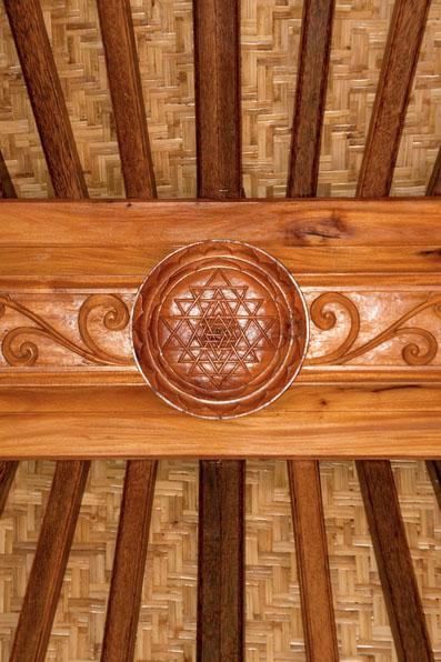 Haiku Ohana Sri Yantra ceiling wood engraving by Mandala Eco Homes