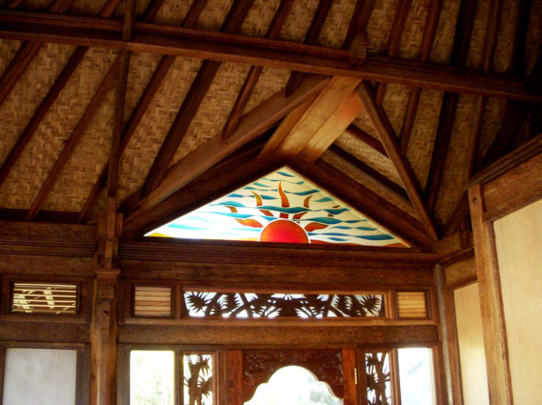 Haiku Ohana Tiny House inside wooden eco architecture ceiling and window by Mandala Eco Homes in Hawaii